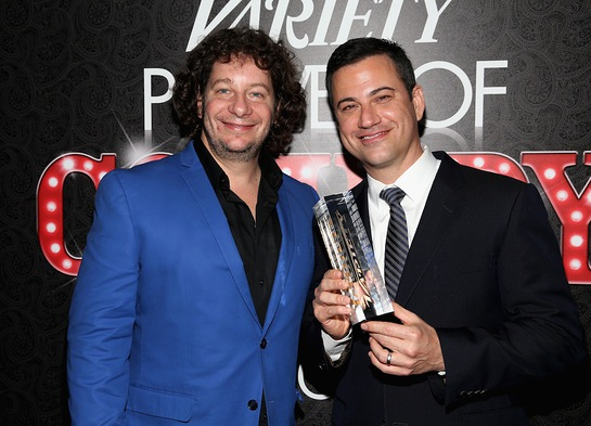 Jimmy Kimmel, with Variety Power of Comedy host and comedian Jeff Ross, after receiving the 2013 Variety Power of Comedy Award at Variety's Power of Comedy event