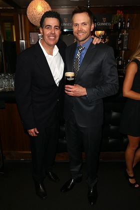 Joel McHale enjoys a pint of Guinness with Adam Carolla in the Green Room at Variety's Power of Comedy event