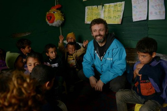 UNICEF UK supporter Michael Sheen travelled to the Faida tented settlement in Lebanon this week