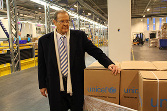 On a visit to UNICEF's global supply warehouse in Copenhagen, UNICEF Goodwill Ambassador, Sir Roger Moore called for continued public support for children and families whose world was ripped apart by super typhoon Haiyan.