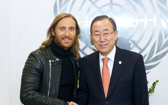 David Guetta (left) with Secretary-General Ban Ki-moon