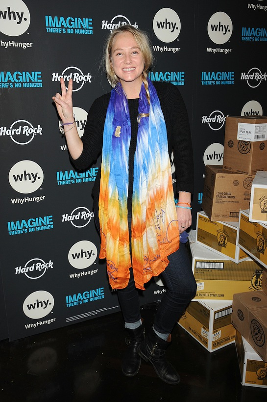 Lissie shows her support by collecting non-perishable food donations for the New York Common Pantry with Hard Rock matching the donations raised on Monday, November 25, 2013, in New York City.