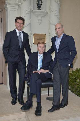 Pictured Left to Right: Tom Cruise (left), Mr. Sumner Redstone (center), Jeffrey Katzenberg (right).