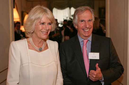 The Duchess of Cornwall with Literacy Hero Henry Winkler