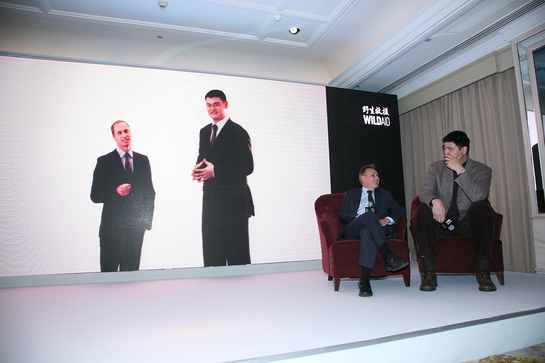 Premiering the new WildAid PSA in Shanghai featuring The Duke of Cambridge, David Beckham, and Yao Ming. Seated are WildAid Executive Director Peter Knights and WildAid Ambassador Yao Ming.