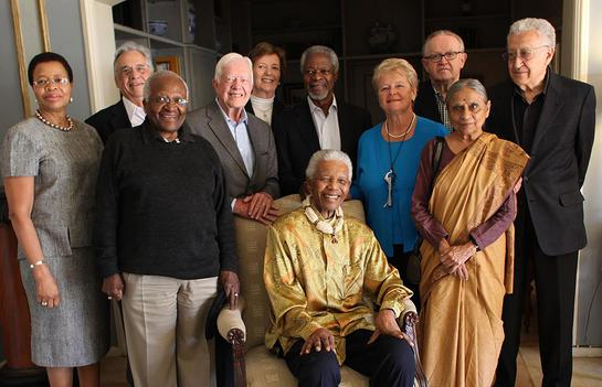 The Elders: Graça Machel, Fernando Henrique Cardoso, Desmond Tutu, Jimmy Carter, Mary Robinson, Kofi Annan, Nelson Mandela, Gro Harlem Brundtland, Martti Ahtisaari, Ela Bhatt, Lakhdar Brahimi