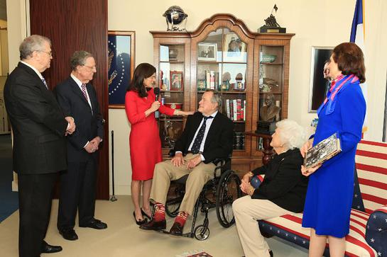 Tom Johnson, LBJ Foundation Chairman Emeritus; Larry Temple, LBJ Foundation Chairman; Luci Baines Johnson; President George H. W. Bush; Barbara Bush; Lynda Johnson Robb