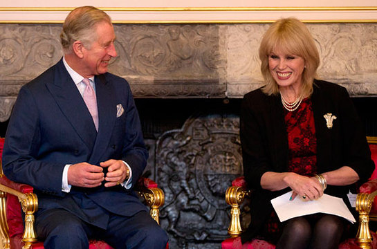 Prince of Wales, the President of Arts and Business with host Joanna Lumley at a ceremony for The Prince of Wales Medal for Arts Philanthropy for 2013
