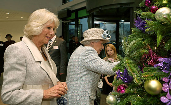 The Queen and The Duchess of Cornwall help decorate the Christmas tree at Barnardo's