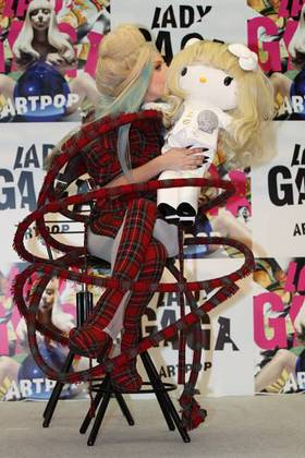Lady Gaga with Hello Kitty doll