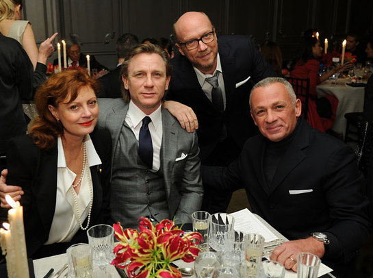 Academy award winning actress Susan Sarandon, actor Daniel Craig, Oscar award winning film director Paul Haggis, Bovet owner Mr. Pascal Raffy at the New York City Holiday Gala