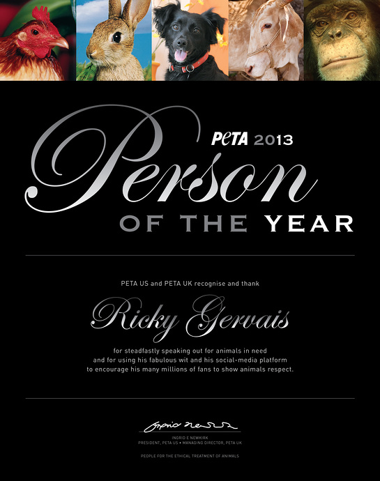 Ricky Gervais - PETA Person of the Year 2013