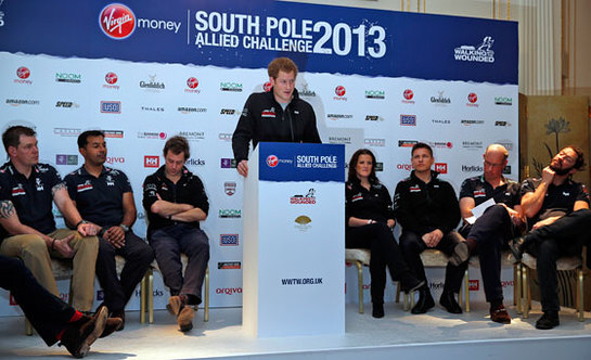 Prince Harry speaks at the Walking With The Wounded South Pole Allied Challenge welcome home press conference.