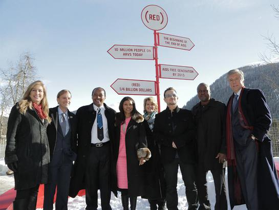 L-R: Deborah Dugan, CEO, (RED); Mark Dybul, Executive Director, The Global Fund to Fight AIDS, TB and Malaria; Patrice and Precious Motsepe; Anne Finucane, Bank of America; Bono, co-founder, (RED); President Mahama, Ghana; Bill McDermott, SAP.