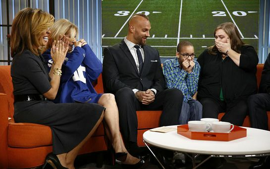 Hoda Kotb, Kathie Lee, Mark Herzlich of the New York Giants, Elijah Williams, Mark's Mentee, Sarah Williams, Elijah's mother