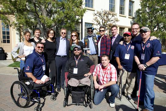 Gary Sinise (center) brought together celebrities (right to left) Tom Arnold, Rob Lowe, Sela Ward, Stacey Dash and more at Paramount Pictures Studio to honor wounded troops and veterans