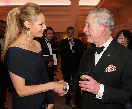 The Prince of Wales meets television presenter Tess Daly at The Prince's Trust Invest in Futures reception