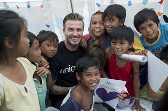 David Beckham made Valentine's Day cards with child survivors of Typhoon Haiyan at a UNICEF-supported child-friendly space at one of Tacloban's major evacuation points.
