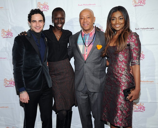 Zac Posen Alek Wek and Patina Miller with Russell Simmons