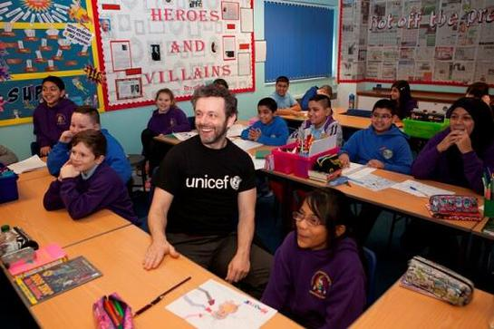 Michael Sheen at Hafod Primary School in Swansea