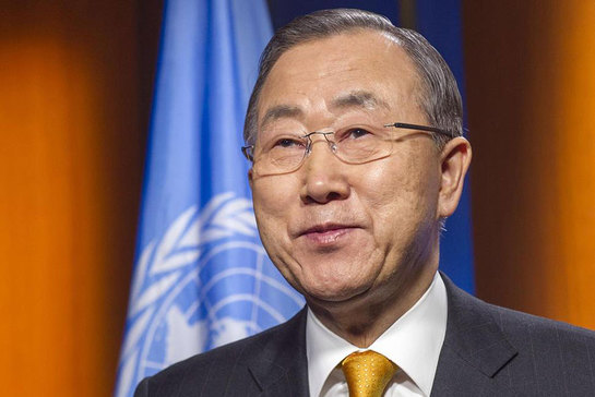 Secretary General Ban Ki-moon records a video message for the people of the Central African Republic