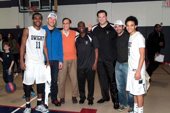 From left: Peewee Kirkland Jr. '14, Bode Miller, Dwight School Chancellor Stephen Spahn, Coaches Dermon Player and David Brown, Kirk Spahn, ICL Founder and Chairman, and Kieran Hamilton '15.