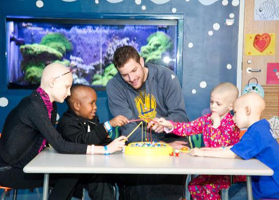 While visiting the kids of St. Jude Children's Research Hospital, David Lee, St. Jude Hoops Ambassador and player for the Golden State Warriors, had a blast playing with patients