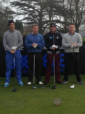 Cricket Legends Michael Vaughan, Ian Ward, Shane Warne and Darren Gough get ready to take on the course at the Shane Warne Golf Classic