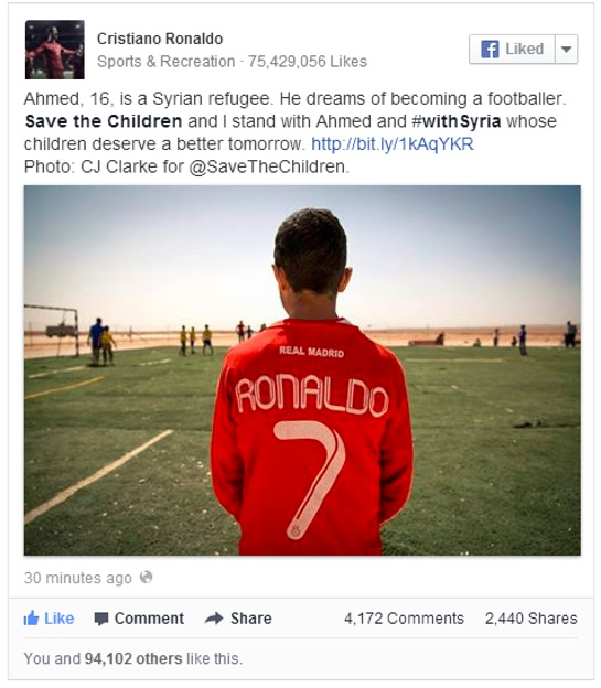 Cristiano Ronaldo Tweets Support For Syrian Refugees