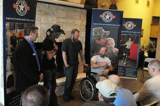 Bret Michaels (center left) met with wounded warriors at Operation Homefront Village in San Antonio this week.