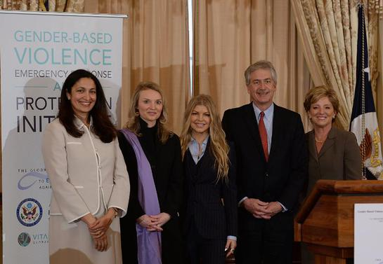 Uzra Zeya, Acting Assistant Secretary of State for Democracy, Human Rights and Labor, Alyse Nelson, CEO of Vital Voices, Fergie, Avon Foundation Ambassador, William Burns, Deputy Secretary of State, and Sheri McCoy, CEO of Avon Products, Inc.