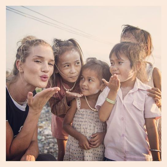 Rosie Huntington-Whiteley Visits Cambodia