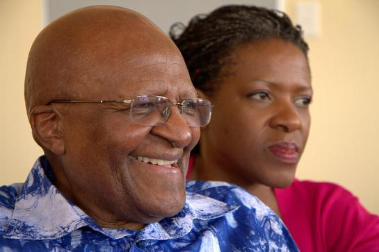 Archbishop Desmond Tutu with his daughter and co-author Reverend Mpho Tutu