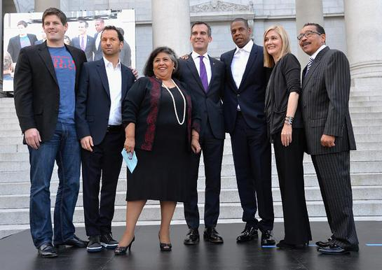 Budweiser Vice President Brian Perkins, Live Nation's Michael Rapino, LA City Supervisor Gloria Molina, LA Mayor Eric Garcetti, JAY Z, United Way's Elise Buik and LA City Council President Herb Wesson.