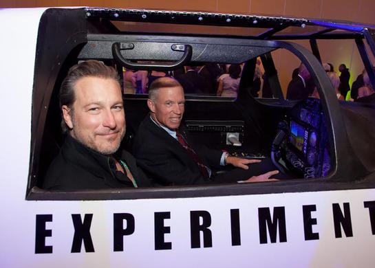 John Corbett and XCOR Chief Test Pilot Richard Searfoss climb aboard the Lynx replica at Celebrity Fight Night XX on Saturday, April 12th in Phoenix, Arizona