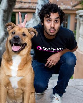 Kunal Nayyar with his rescue dog, Boba