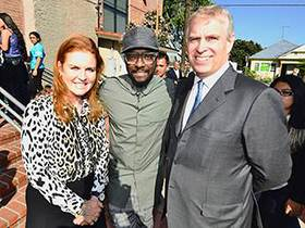 Sarah Ferguson, Duchess of York, i.am.angel Foundation President, will.i.am and The Duke of York in front of the i.am College Track Boyle Heights Boyle Heights center.