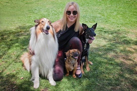 Abbie Kornish attended Best Friend Animal Society's NKLA Adoption Weekend with her rescue dogs India and Soliel