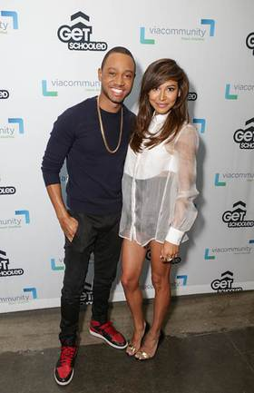 E! News co-host Terrence J joins Naya Rivera for Get Schooled at Collins Family High School