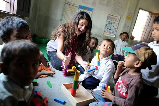 Selena Gomez visits an early childhood education classroom at the child-friendly Satbariya Rapti Secondary School where she witnessed their safe, interactive, creative and fun learning environment.