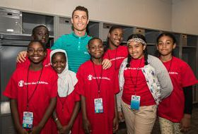 Cristiano Ronaldo treated a group of 10-13-year-old fans with tickets to the Portugal vs. Ireland game last night at MetLife Stadium in Rutherford, N.J,