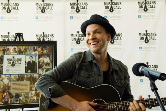 Gavin DeGraw performs for patients at City of Hope for the Musicians On Call Jason Pollack Bedside Performance Program launch