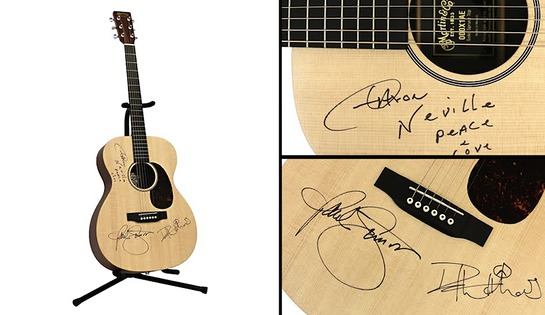 Guitar Signed By Paul Simon, Dave Matthews and Aaron Neville
