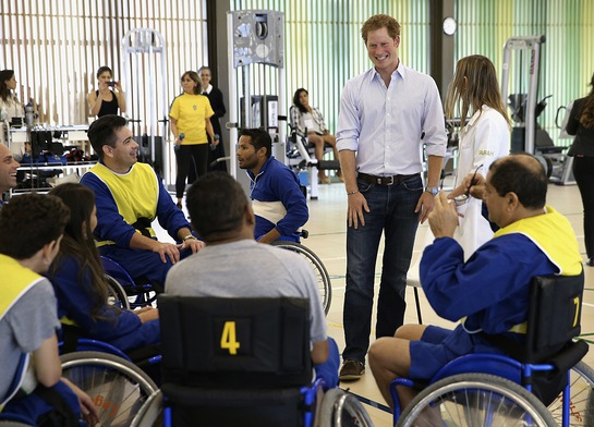 Prince Harry meets patients at the Brasilia branch of the SARAH network of rehabilitation hospitals