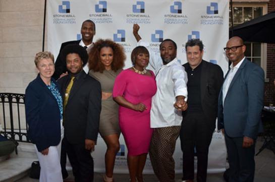 Jason Collins with Marita Bagley, Jarrett Marcus, Janet Mock, Bevy Smith, Lee Daniels, Isaac Mizrahi, Emil Wilberkin