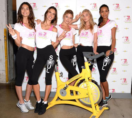 Victoria's Secrets Models Cycle For Charity