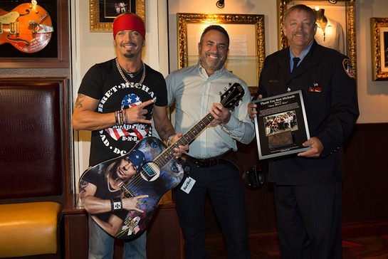 Bret Michaels With Hard Rock Cafe New York General Manager, Daniel Sarroino, and Ray Pfeifer of FDNY