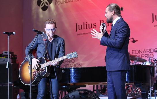 Bono and Leonardo DiCaprio