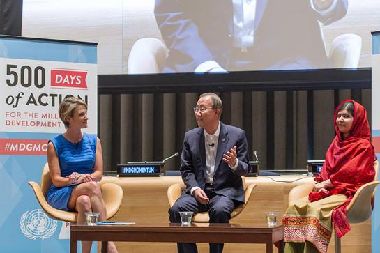Ban Ki-moon with Malala Yousafzai and ABC News anchor Amy Robach