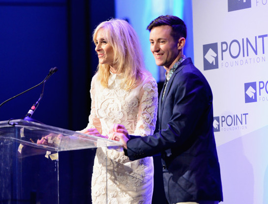 Judith Light (L) and Point Foundation alum Rhys Ernst speak onstage during Point Foundation0s Voices On Point Gala